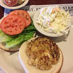 Crab cake sandwich with coleslaw