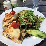 Turkey on Naan bread with salad