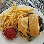 pepper bacon burger with fries