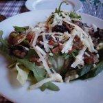 Salad with bacon and mushroom