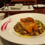 Salmon with mushroom risotto