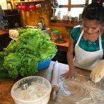 Making tortillas for their burritos (delicious!)