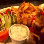 Chicken souvlaki and Cajun Beef