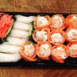 Salmon roses and white tuna sushi.