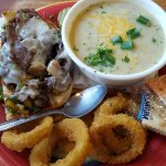 Soup and cheese steak