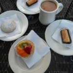 Russian tea cake, fruit tart and chocolate macaroon