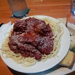great dish of spagetti and meatballs generous helping