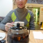 Enjoying Cornish tea and hot chocolate at Mr. Billy's