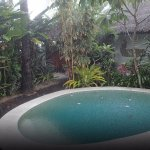 Plunge pool in the rain