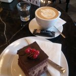 One of the Book Cafe's chocolatey treats, with a cappuccino.