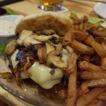 Cheese burger with mushrooms