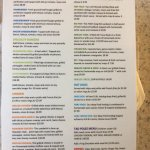 Frog bar menu June 2017