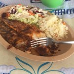 fish fillet diabla with white rice and salad