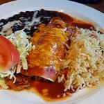Chicken enchilada with rice and black beans