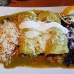 Puerto Vallarta enchiladas (crab meat, shrimp, tomatillo sauce cooked in white wine and mushroom