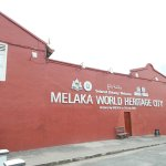 The big 'Melaka World Heritage City' sign across the street from the front grounds of the Church