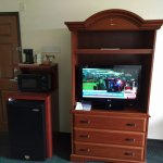 TV, microwave & refrigerator in room
