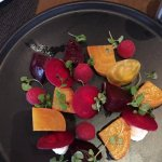 there are both red and golden beets, along with goat cheese