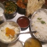 Thali - two curries, rice, dal, srikand and accompaniments. Totally delicious
