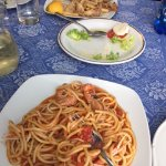 Pasta with seafood and fried seafood