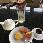 Cocoa tea and fresh fruit