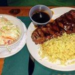 Teriyaki Steak, Rice Pilaf, plus an extra side of Coleslaw.