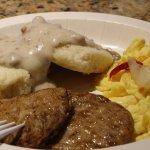 Inclusive breakfast; fresh scrambled eggs, sausage patties, bicuits & gravy.