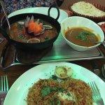Chicken biryani, vegetable curry
