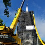 Removing the steeple from the Chestnut Street Babtist Church in Camden Maine for repairs.