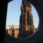 out a top floor window to the Scott Monument