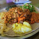 Veggie combo with beef tbisi and fish dulet