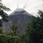 Arenal Volcano right outside our hotel window! Clouds cleared for about 10 minutes and voila!