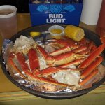 Beer, steamed Crab Legs, corn, drawn butter and lemon