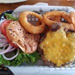 Cheeseburger and onion rings