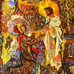 Mosaic of Jesus and Mary Magdalene in the Resurrection Chapel.