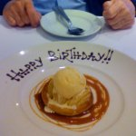 Birthday dessert of Tarte Tatin with salted caramel twirls!