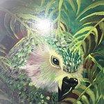 flightless parrot mural on door