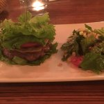 KGB burger classic with beef meat without bun and apple walnut salad