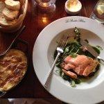 Salmon with potatoes au gratin