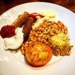 Veggie Brekkie - poached egg, veg sausages, halloumi, beans, tomato and homemade hash brown