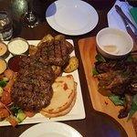 Barbecued Greek Beef Patties Souvalaki Platter/ Marinated lamb short ribs