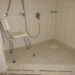 Wheelchair room with shower chair