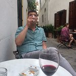Courtyard outside hotel...10 euros for four glasses of delicious local wine.