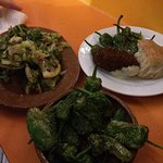 Padron peppers and cauliflower leaves