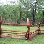 Split-rail fence on grounds