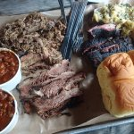 Beans, brisket, ribs and pulled pork.