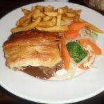 Steak Pie, veg and chips.