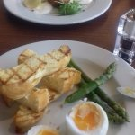 Duck egg asparagus and toasted brioch