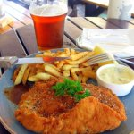 Chicken Schnitzel w Amber Ale Pint at Mitchell's Ale house