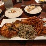 bbq chicken, wild rice, sweet potato fries- deeeelicious